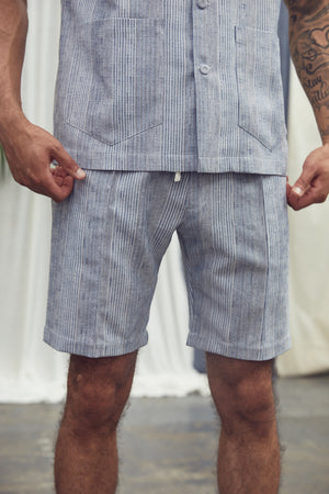 Blue Eden Stripe Slim Fit Shorts