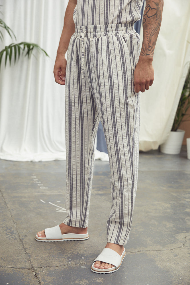 Ecru Fortmentera Stripe Loose Fit Trousers - P r é v u . S t u d i o .