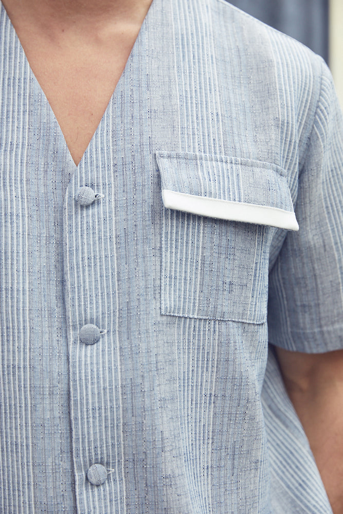 Blue Eden Stripe Regular Fit Shirt - P r é v u . S t u d i o .