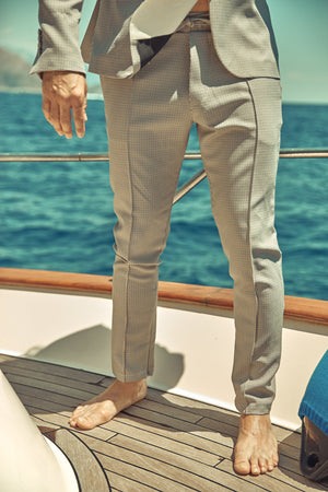 Cream and Black Balotelli Puppytooth Slim Fit Trousers - P r é v u . S t u d i o .
