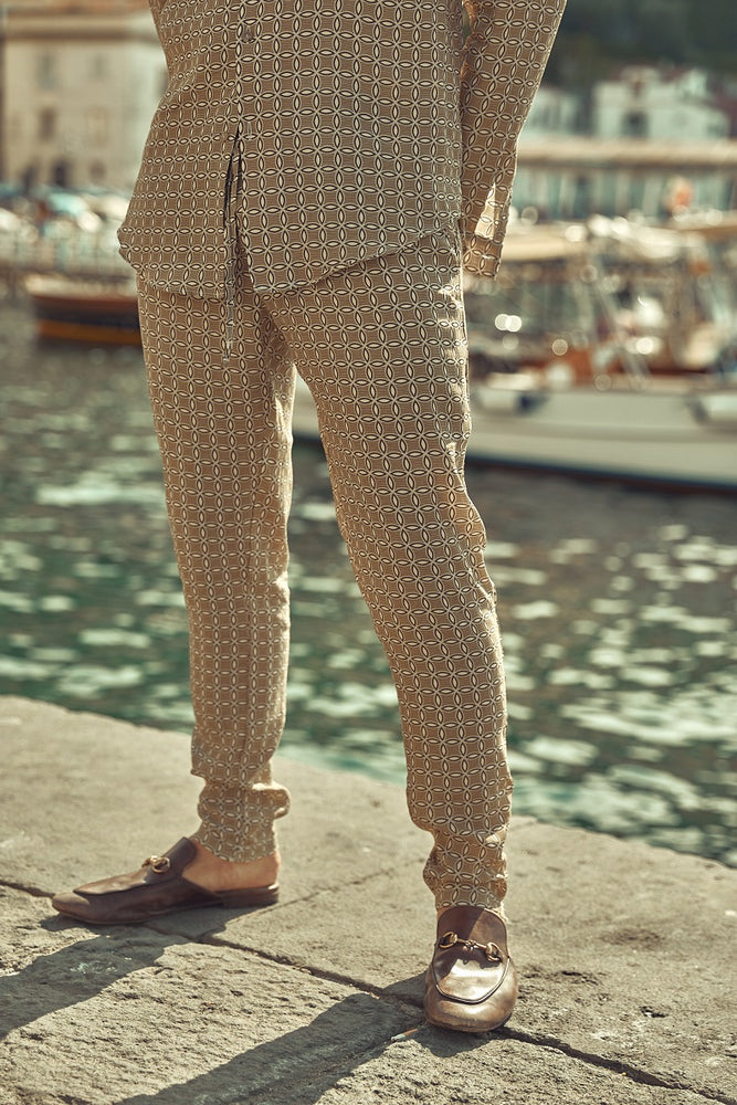 Tan Angelo Geo Print Slim Fit Trousers - P r é v u . S t u d i o .
