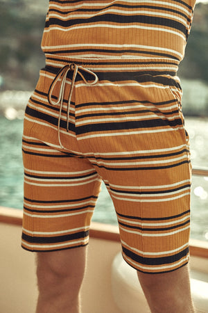Load image into Gallery viewer, Yellow Moreno Stripe Shorts - P r é v u . S t u d i o .