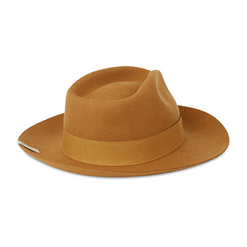 Load image into Gallery viewer, Tan Fedora Hat - P r é v u . S t u d i o .