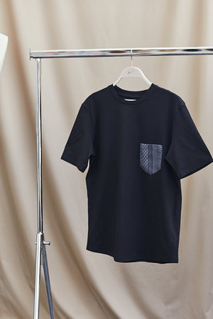 Black Contrast Black Pocket Slim Fit T-shirt - P r é v u . S t u d i o .