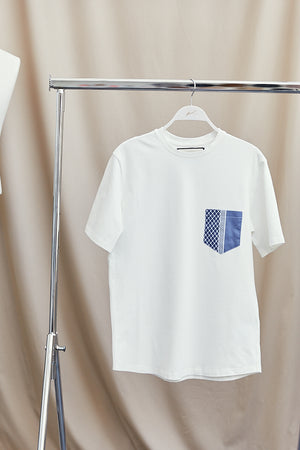 Load image into Gallery viewer, White Contrast Navy Pocket Slim Fit T-shirt - P r é v u . S t u d i o .