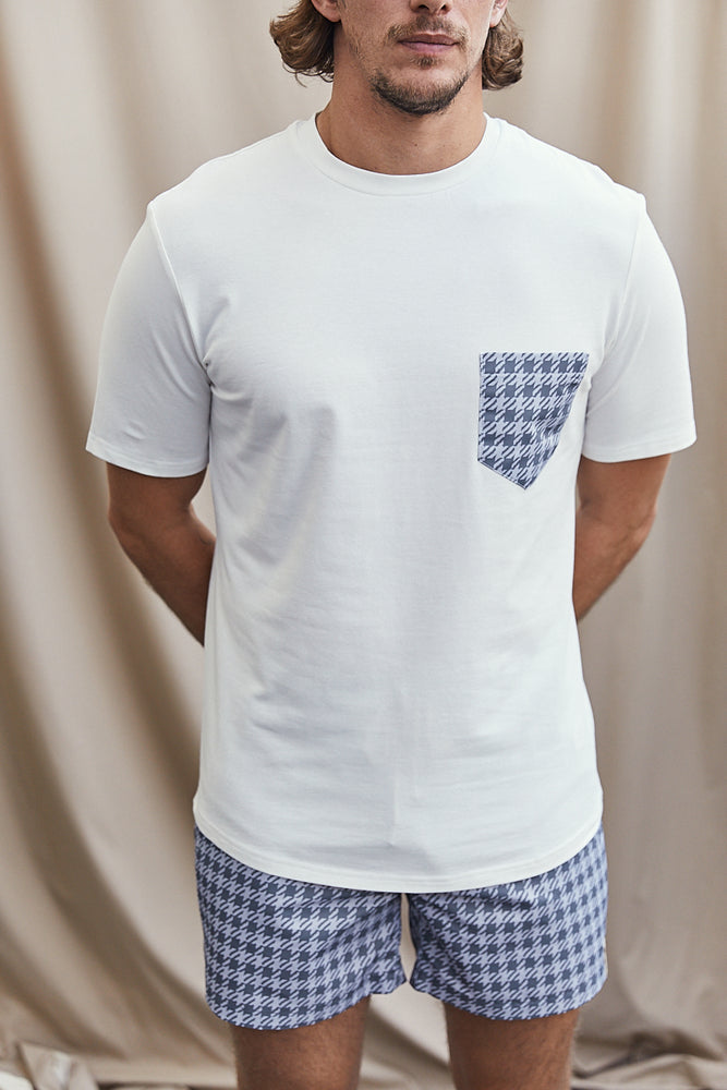 White Contrast Grey Pocket Slim Fit T-shirt - P r é v u . S t u d i o .