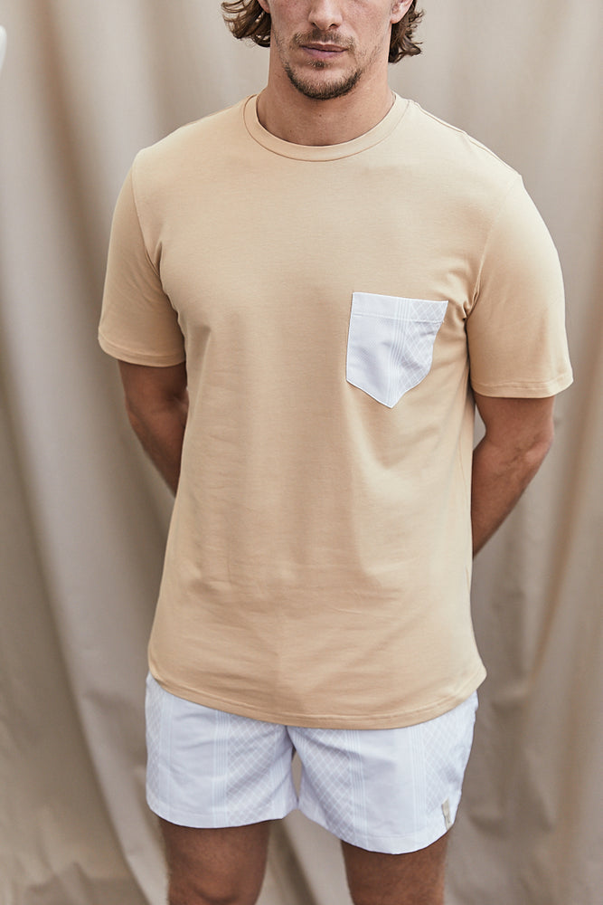 Tan Contrast Stone Pocket Slim Fit T-Shirt