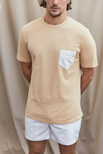 Tan Contrast Stone Pocket Slim Fit T-Shirt - P r é v u . S t u d i o .