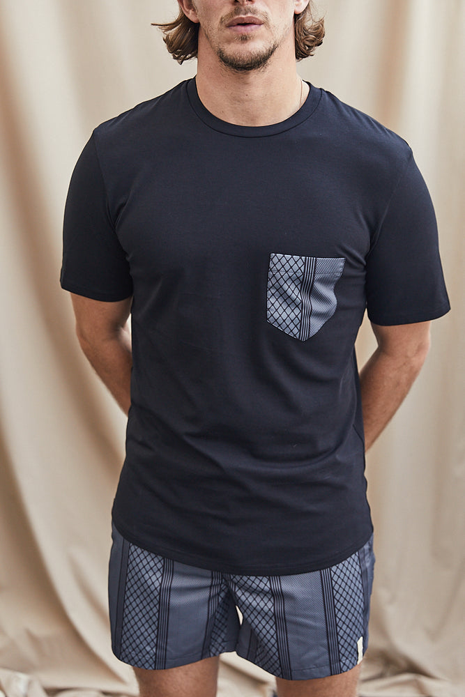 Black Contrast Black Pocket Slim Fit T-shirt