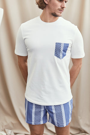 White Contrast Navy Pocket Slim Fit T-shirt