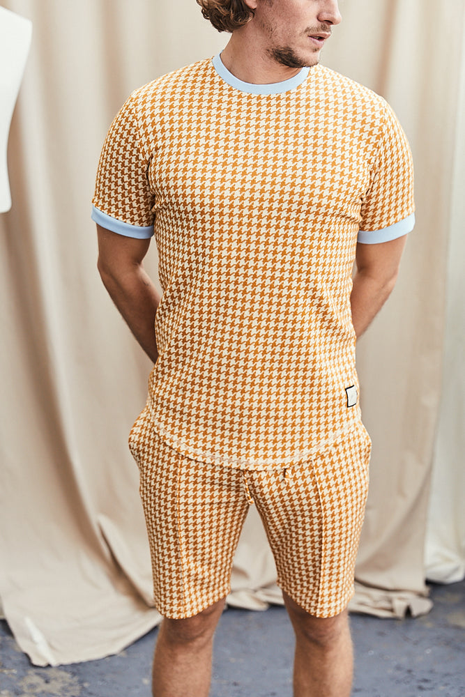 Yellow Giovinco Puppytooth Slim Fit T-shirt