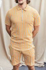 Yellow Giovinco Puppytooth Slim Fit Polo