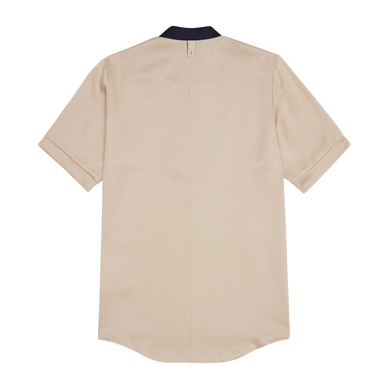 Tan Horizon Zip Neck Skinny Fit T-shirt - P r é v u . S t u d i o .
