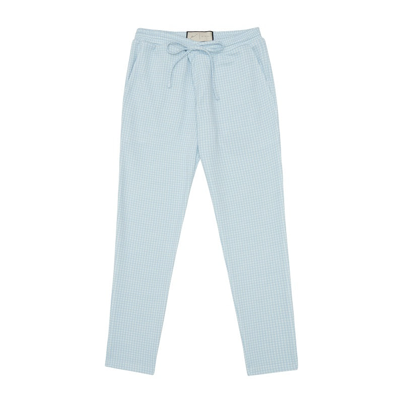 Light Blue Medina Puppytooth Slim Fit Trousers - P r é v u . S t u d i o .