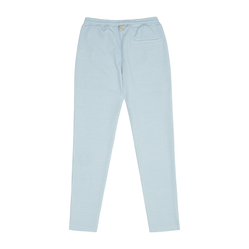 Load image into Gallery viewer, Light Blue Medina Puppytooth Slim Fit Trousers - P r é v u . S t u d i o .