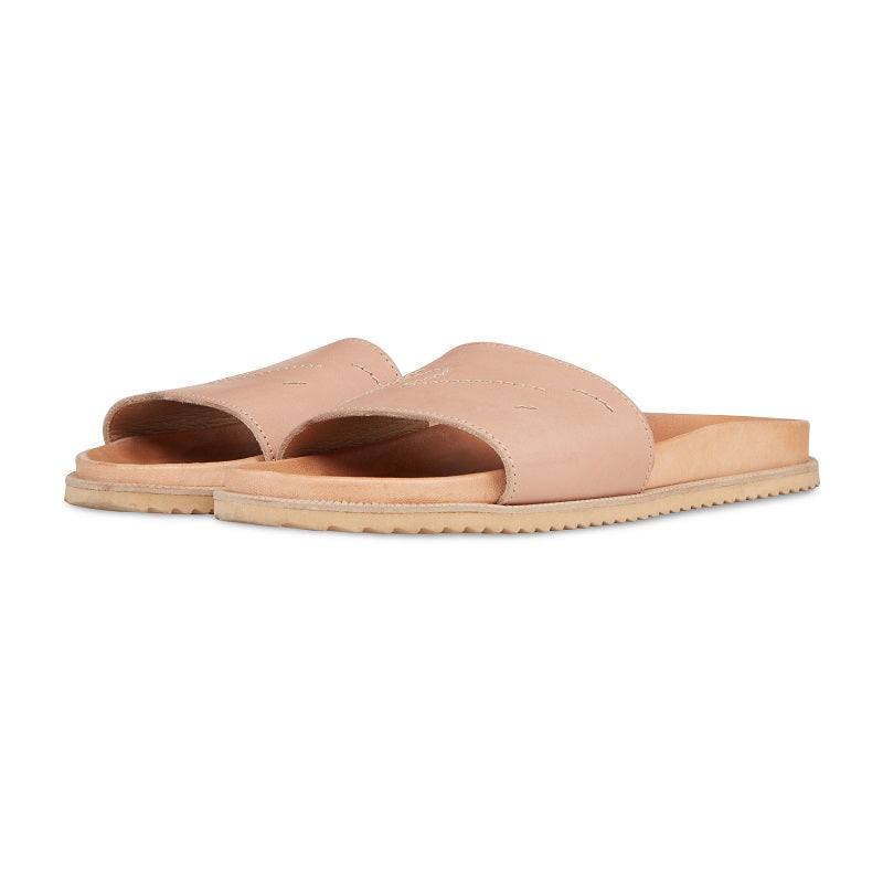 Beige Leather Sliders - P r é v u . S t u d i o .