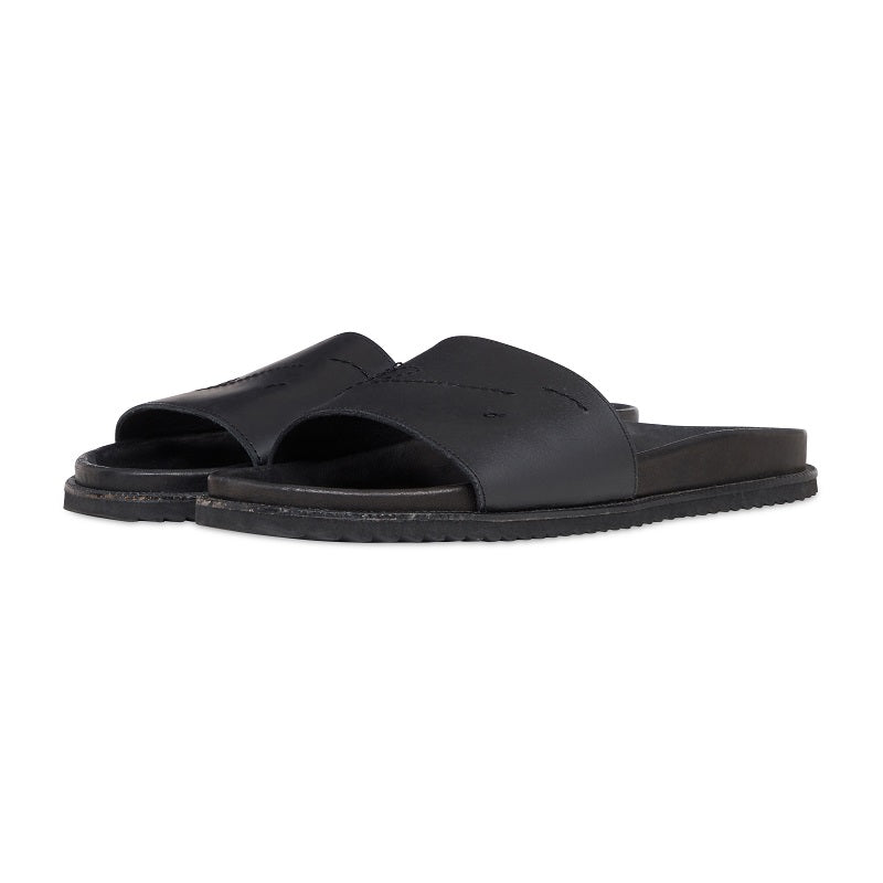 Black Leather Sliders - P r é v u . S t u d i o .