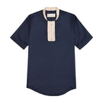 Navy Horizon Zip Neck Skinny Fit T-shirt