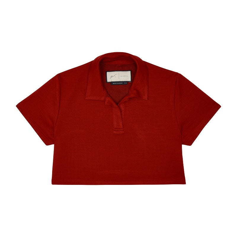 Women's Red Napoli Polo Shirt - P r é v u . S t u d i o .