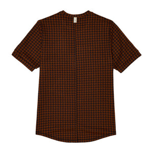Brown Giovinco Puppytooth Slim Fit T-shirt - P r é v u . S t u d i o .