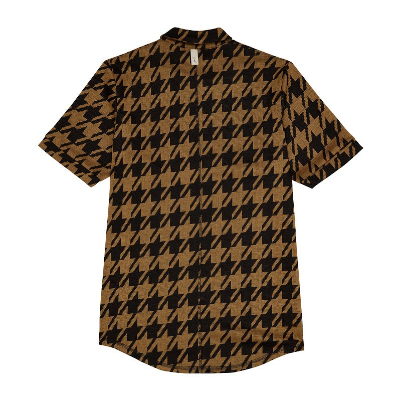 Black Pelle Dogtooth Regular Fit Polo - P r é v u . S t u d i o .