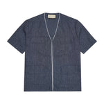 Navy Galli Linen Regular Fit Overshirt - P r é v u . S t u d i o .