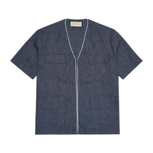 Load image into Gallery viewer, Navy Galli Linen Regular Fit Overshirt - P r é v u . S t u d i o .