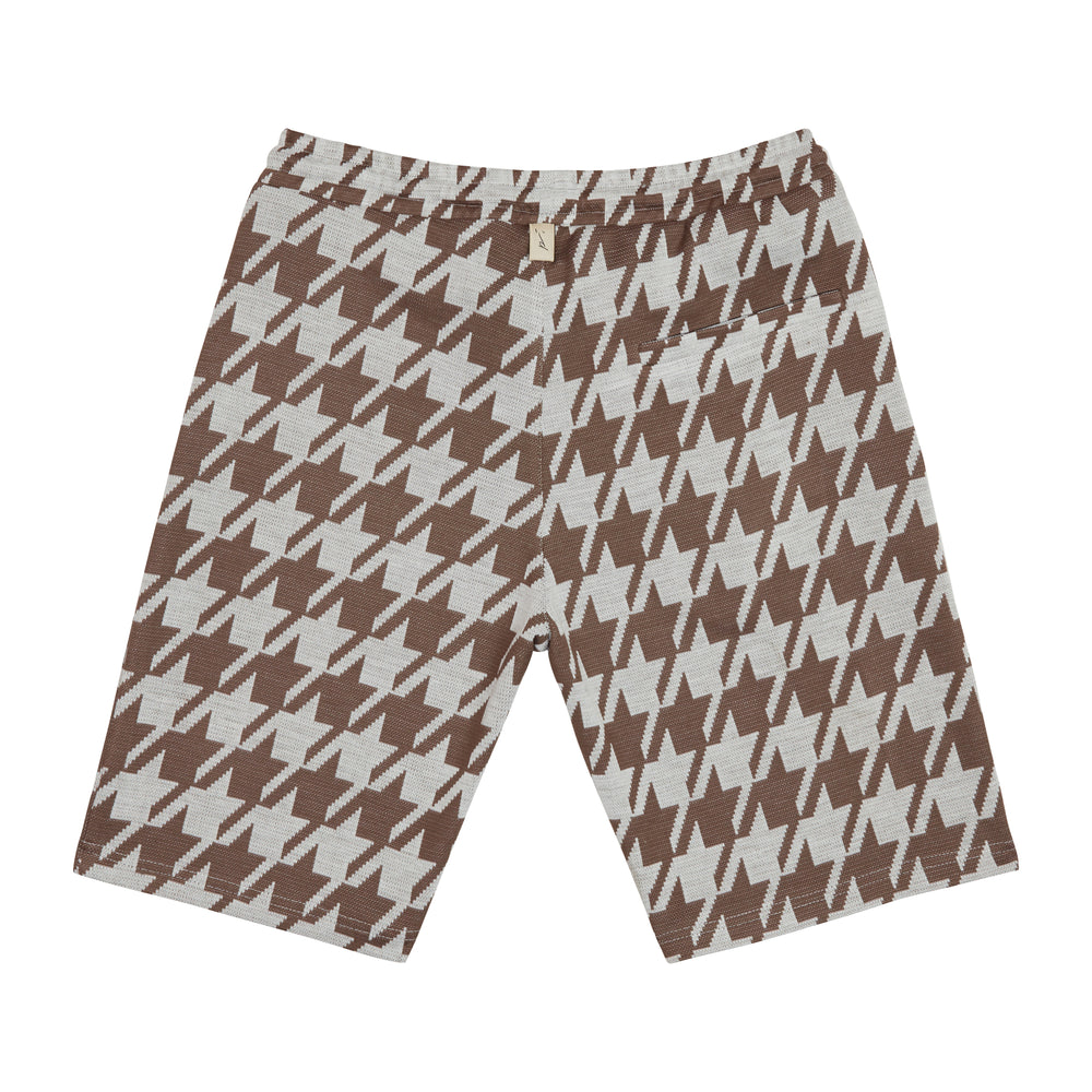 Load image into Gallery viewer, Cream Pelle Dogtooth Shorts - P r é v u . S t u d i o .