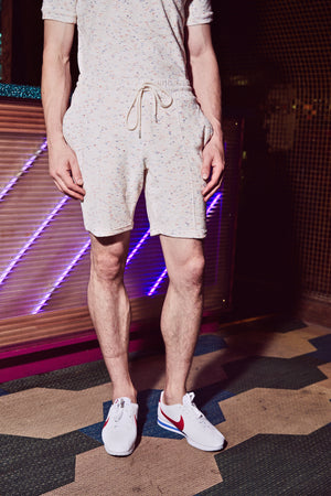 Load image into Gallery viewer, White Milas Flecked Towelling Shorts - P r é v u . S t u d i o .