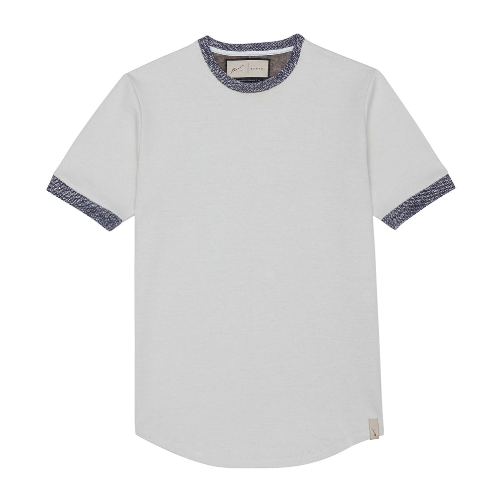 Load image into Gallery viewer, Cream Aegean Contrast Slim Fit T-shirt - P r é v u . S t u d i o .
