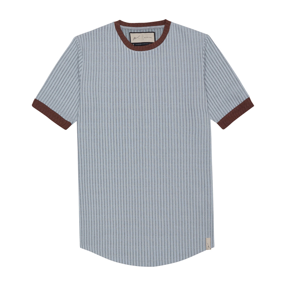 Load image into Gallery viewer, Silver Kas Ribbed Slim Fit T-shirt - P r é v u . S t u d i o .