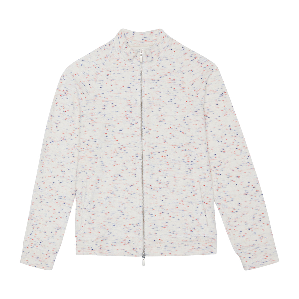 Load image into Gallery viewer, White Milas Flecked Towelling Track Jacket - P r é v u . S t u d i o .