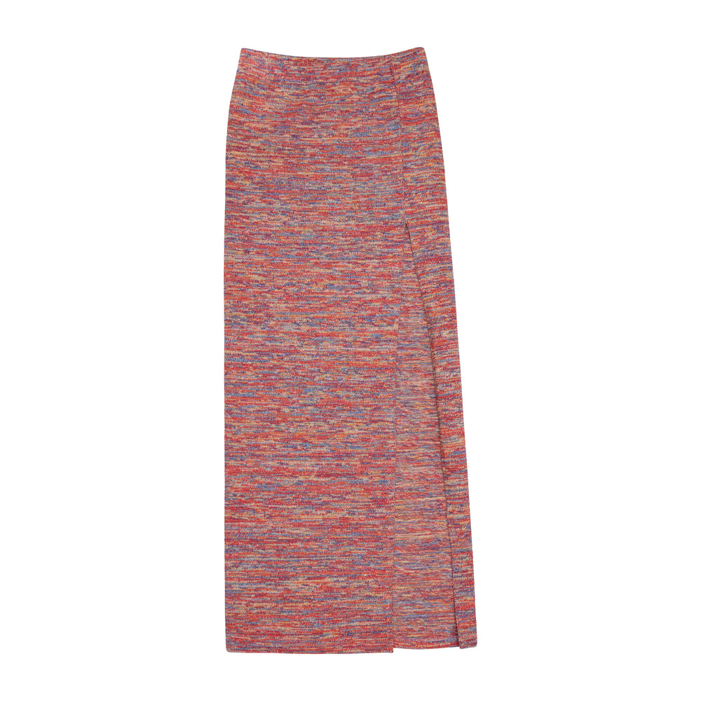 Women's Red Karaman Space Dye Maxi Skirt - P r é v u . S t u d i o .