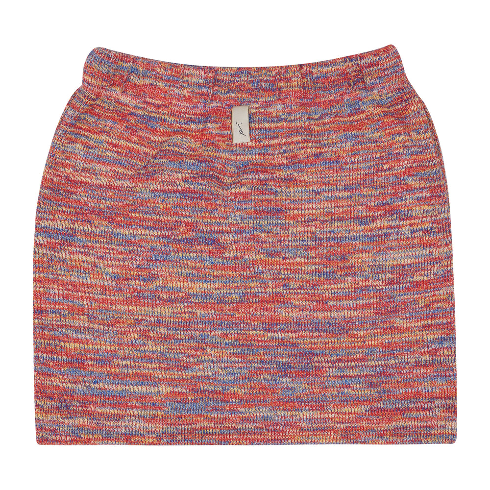 Women's Red Karaman Space Dye Mini Skirt - P r é v u . S t u d i o .