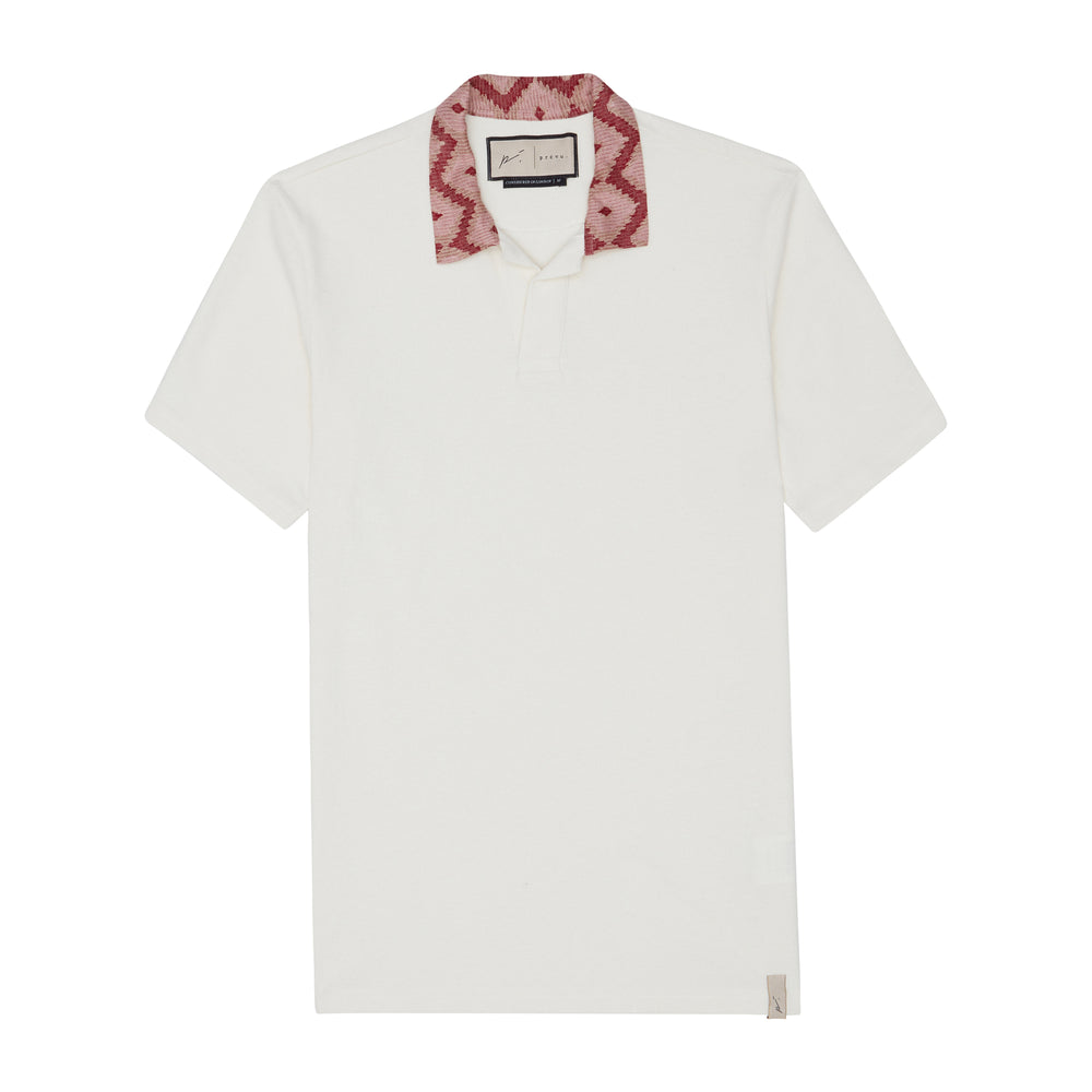 Cream Artemis Contrast Collar Pique Slim Fit Polo - P r é v u . S t u d i o .