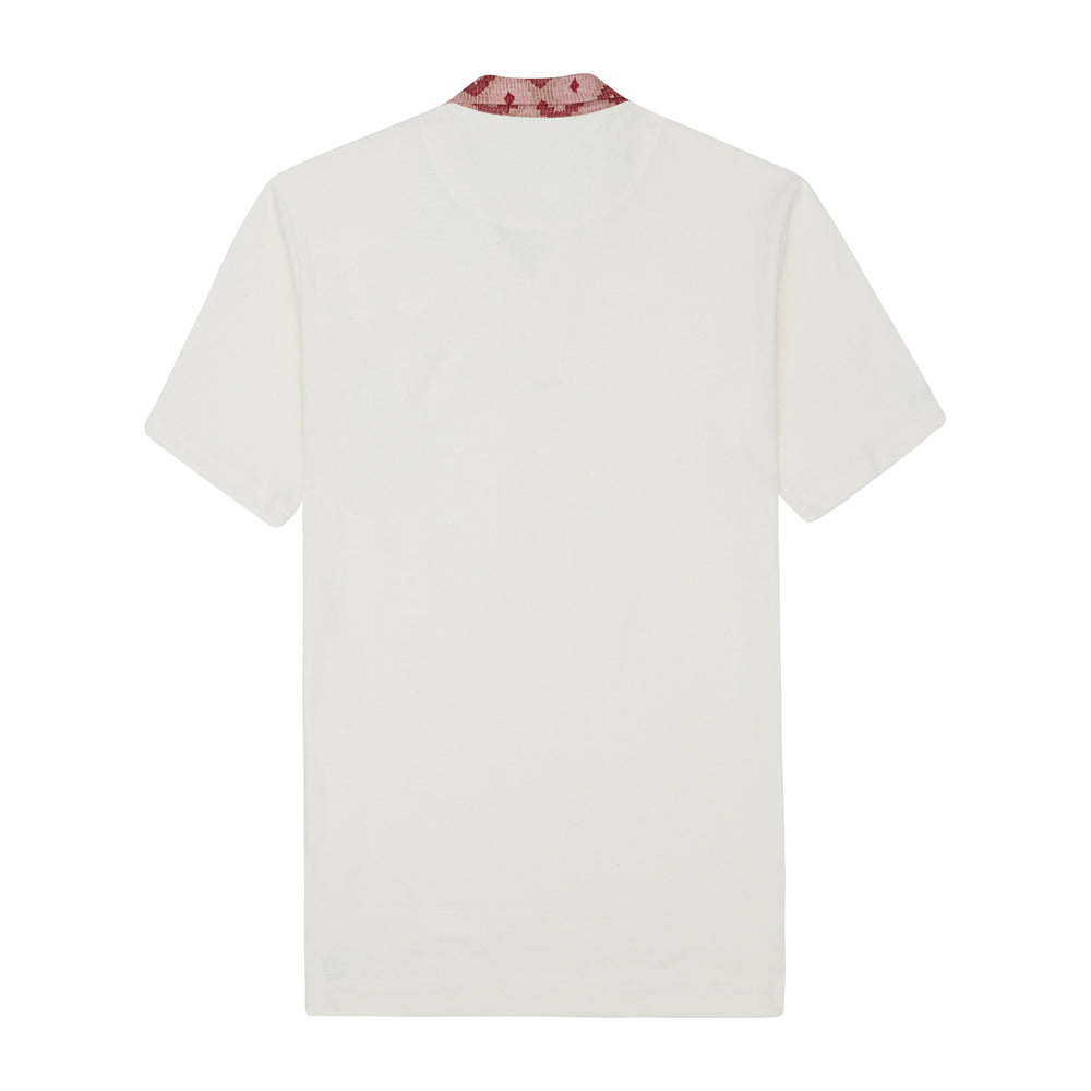 Load image into Gallery viewer, Cream Artemis Contrast Collar Pique Slim Fit Polo - P r é v u . S t u d i o .