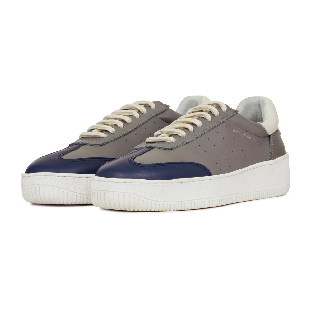 Grey Annecy Contrast Panel Leather Trainers - P r é v u . S t u d i o .