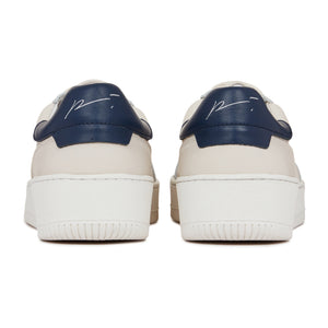 Load image into Gallery viewer, Cream Annecy Contrast Panel Leather Trainers - P r é v u . S t u d i o .
