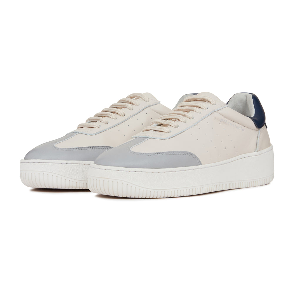 Cream Annecy Contrast Panel Leather Trainers