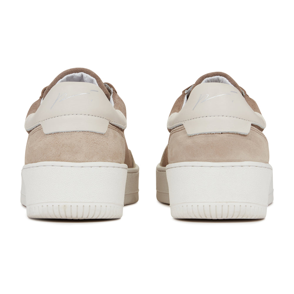 Light Brown Annecy Contrast Panel Suede Trainers - P r é v u . S t u d i o .
