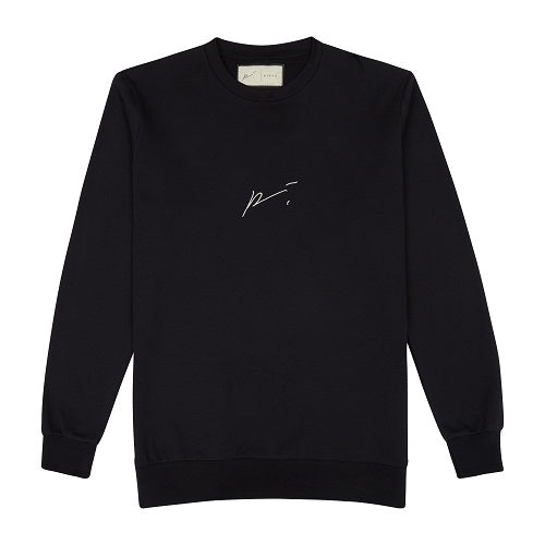 Black Signature Logo Embroidered Sweatshirt - P r é v u . S t u d i o .