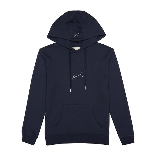 Load image into Gallery viewer, Dark Navy Signature Logo Embroidered Hoodie - P r é v u . S t u d i o .