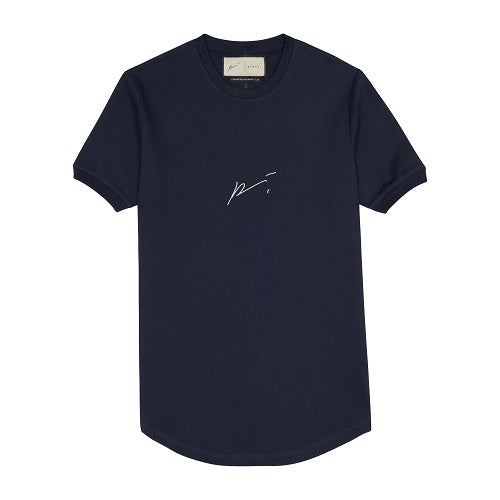 Dark Navy Signature Logo Embroidered Slim Fit T-Shirt - P r é v u . S t u d i o .