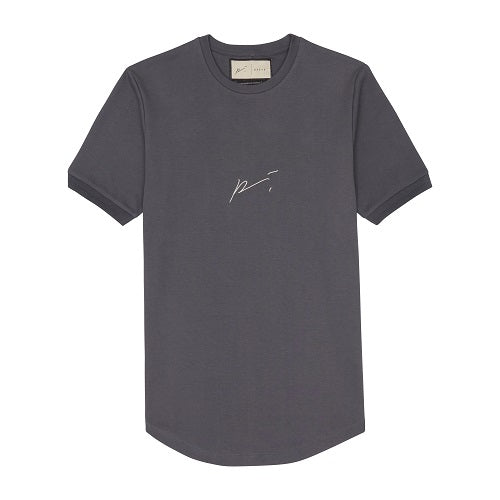 Grey Signature Logo Embroidered Slim Fit T-Shirt - P r é v u . S t u d i o .