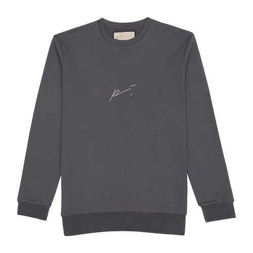 Grey Signature Logo Embroidered Sweatshirt - P r é v u . S t u d i o .