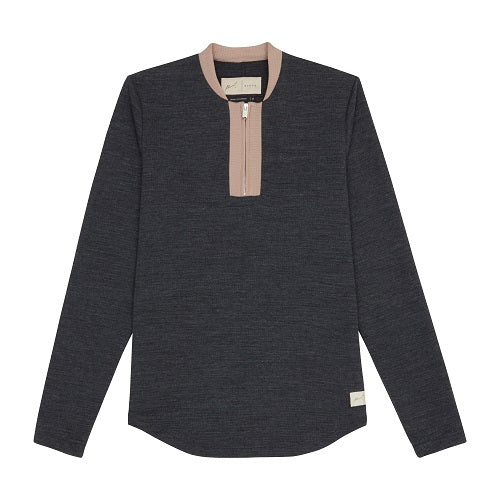 Grey and Tan Candreva Zip Neck Slim Fit T-shirt - P r é v u . S t u d i o .