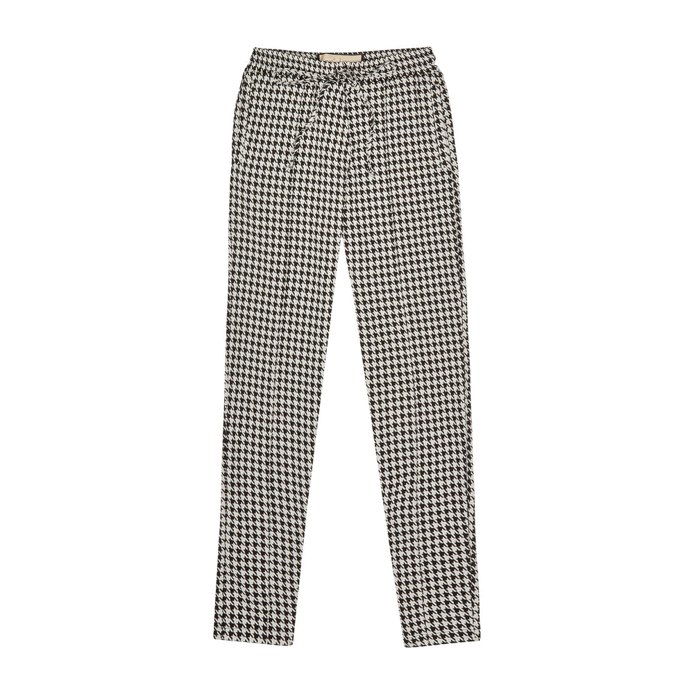 Women's Black and White Liberty Puppytooth Trousers - P r é v u . S t u d i o .