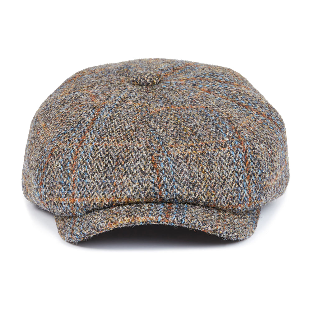 Load image into Gallery viewer, Brown Herringbone Wool Baker Boy Cap - P r é v u . S t u d i o .