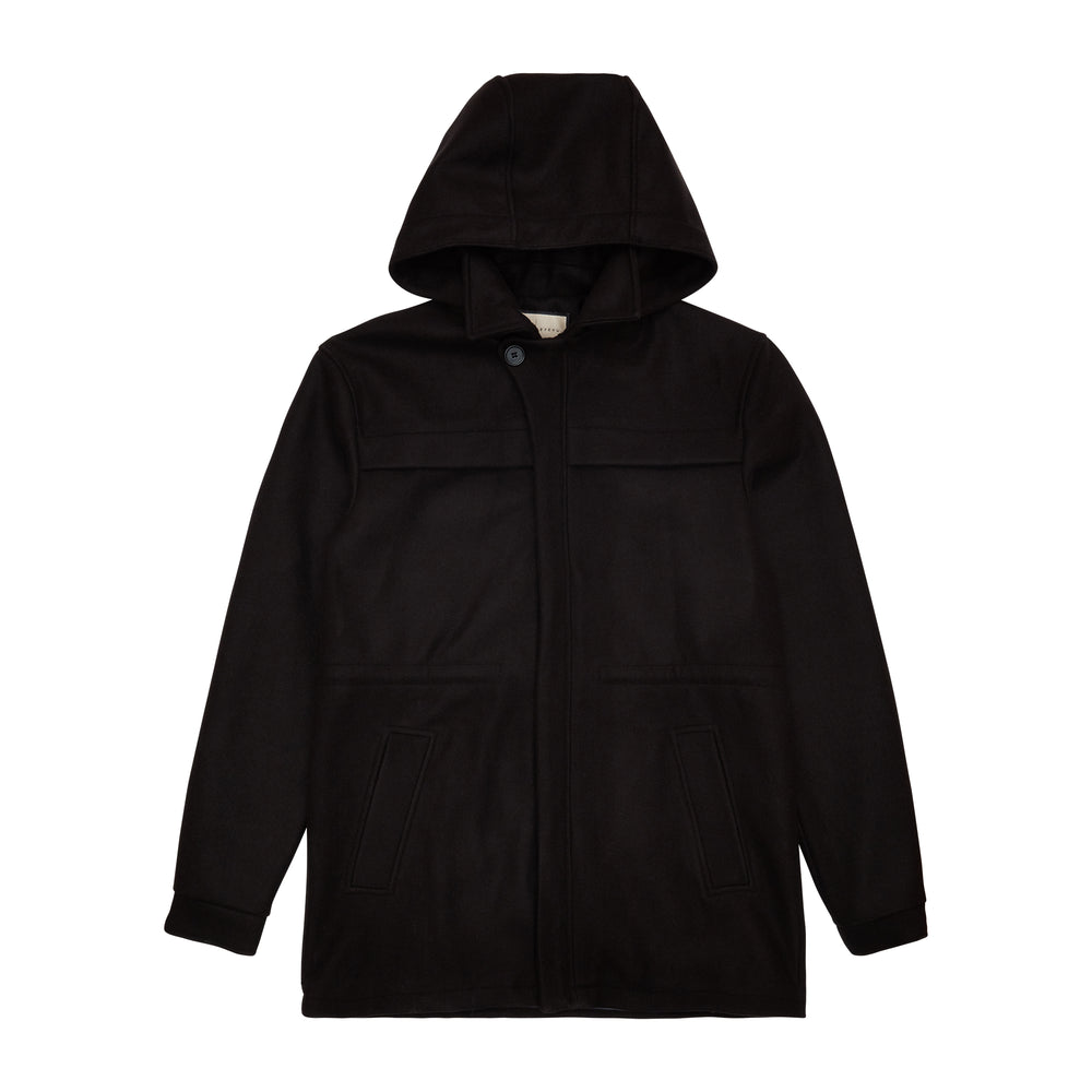 Load image into Gallery viewer, Black Nord Wool Hooded Parka - P r é v u . S t u d i o .