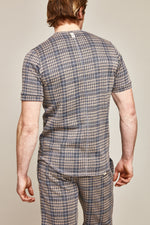 Grey Kingsdale Prince of Wales Check Slim Fit T-shirt - P r é v u . S t u d i o .